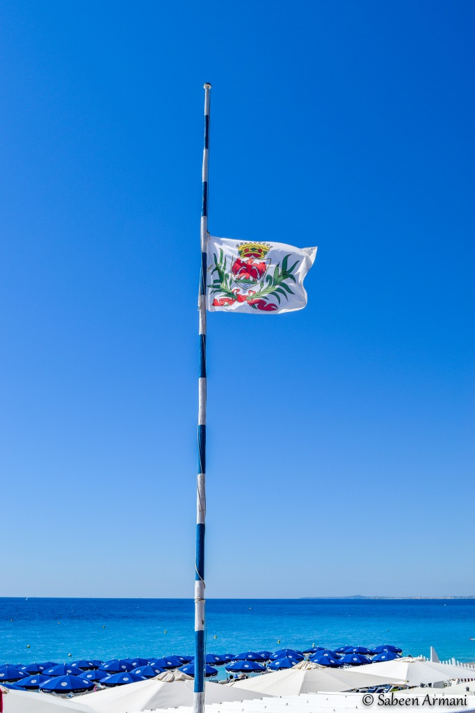 The flag of the city of Nice, France at half-mast during the country's 3-day mourning period.